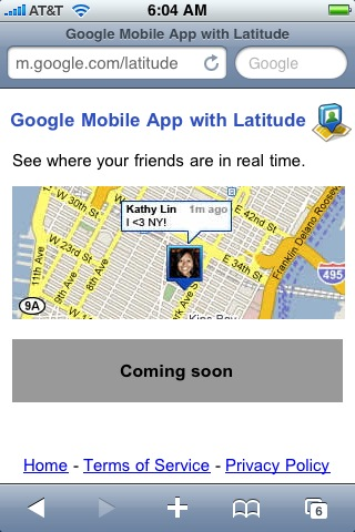 Screenshot of Google Latitude on iPhone